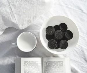 book, oreo, and milk image