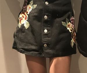 black, floral, and denim image