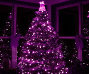 christmas, purple, and christmas tree image