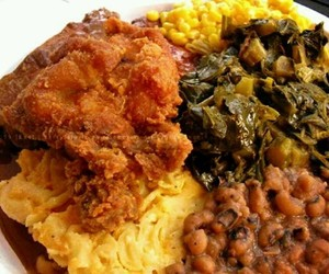 corn, greens, and soul food image