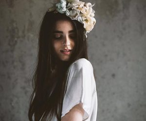flowers, crown, and hair image
