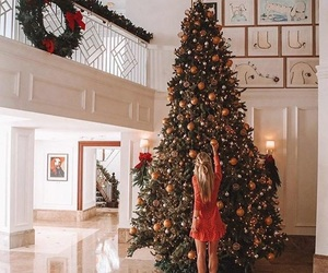 christmas, girl, and tree image
