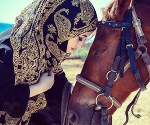 hijab and horse image