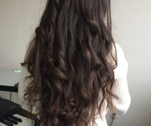 brunette, curly, and haircut image