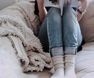 cozy, jeans, and book image