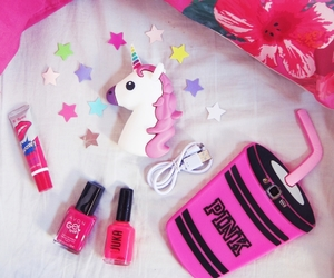 bed, pink, and unicorn image