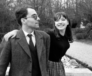 anna karina, jean-luc godard, and black and white image
