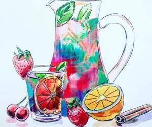 drink, sangria, and wine image