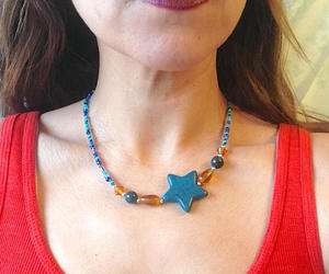 etsy, blue star necklace, and blue star pendant image