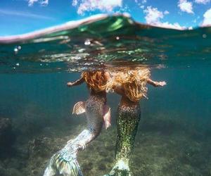 mermaid, girl, and sea image