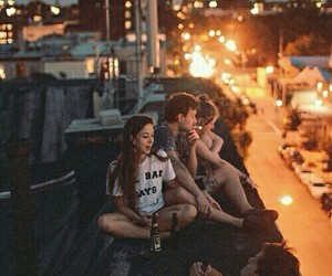 friends, night, and city image