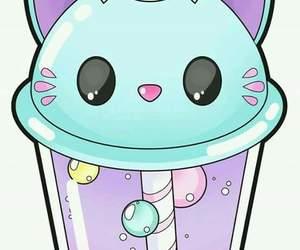 kawaii, cat, and bubble tea image
