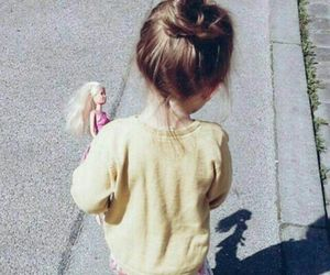 girl, baby, and barbie image