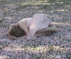 girl, flowers, and sad image