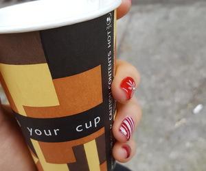 coffe, cup, and christmas nails image