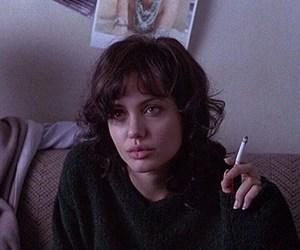 Angelina Jolie, grunge, and cigarette image