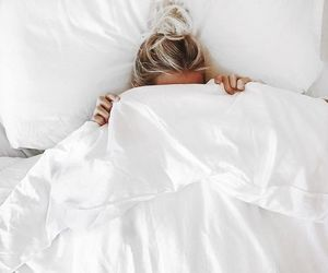 bed, girl, and white image