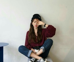 beanie, fashion, and jeans image