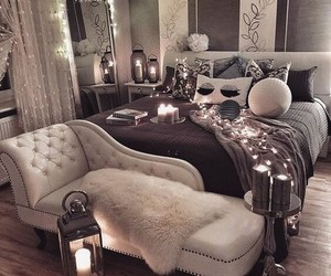 bed, chic, and decoration image