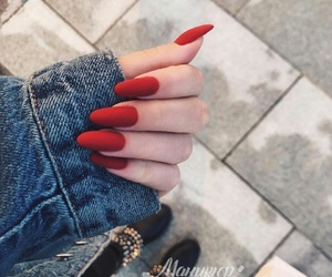 red, nails, and beauty image