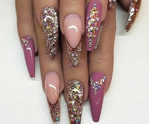 glitter, mauve, and nails image