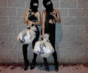 girl, money, and black image