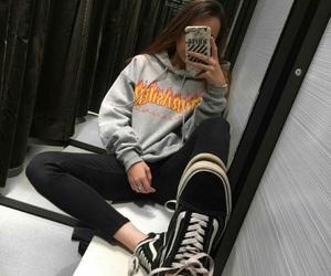 girl, vans, and thrasher image
