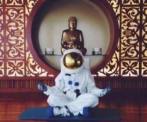 astronaut, Buddha, and space image