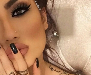 make-up, nails, and piercing image