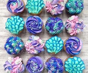 cup cakes, party, and mermaid image