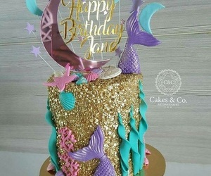 cake, mermaid, and party image