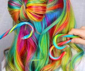 rainbow, girl, and hair image