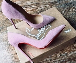 high heels, purple, and shoes image