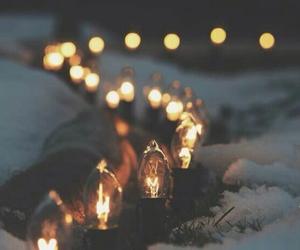 lights, snow, and warm image