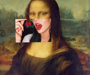 art, cherry, and mona lisa image