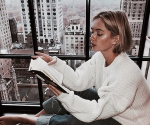 girl, city, and book image