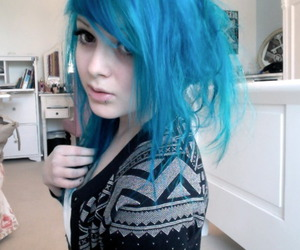 blue hair, blue, and girl image