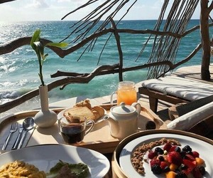 breakfast, food, and beach image