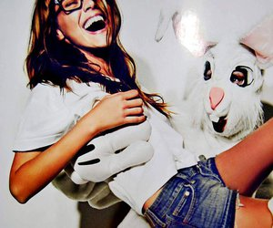 girl, sunglasses, and rabbit image