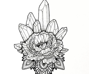 crystal, peonies, and mandala image