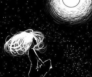 black white, universe moon girl, and rooftop stars hair image