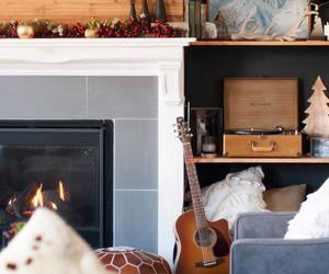 comfy, fireplace, and record player image