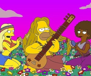 flowers, hippie, and homer image