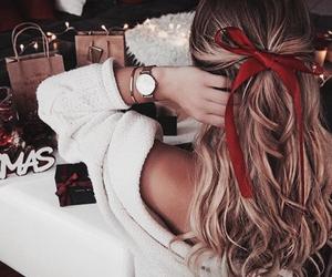 hair, christmas, and girl image