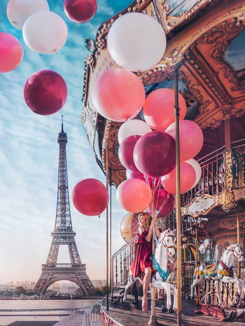 paris, balloons, and pink image
