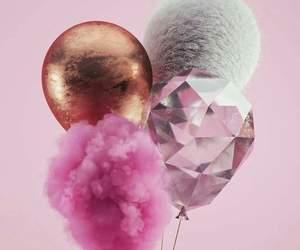pink, balloons, and wallpaper image