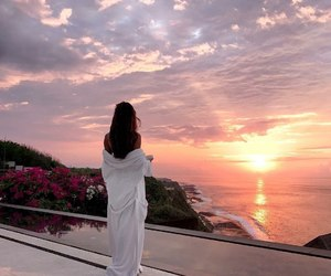 girl, sunset, and paradise image