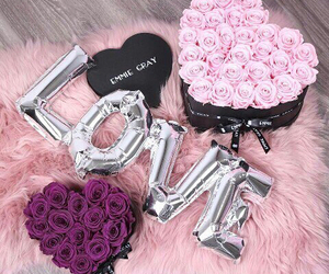 flowers, pink, and gift image