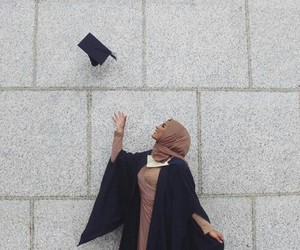 hijab, muslim, and graduation image