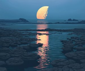 beautiful, moon, and water image